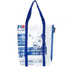 【NEW シリーズ】ベトナム 飼料袋 リメイク ショルダーバッグ(ビニールコーティング マチ付き ブタ ブルー B)