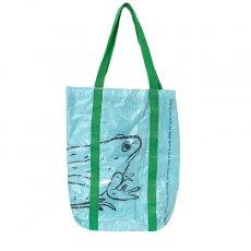 【NEW シリーズ】ベトナム 飼料袋 リメイク ショルダーバッグ(ビニールコーティング マチ付き カエル ブルー)