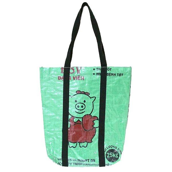 【NEW シリーズ】ベトナム 飼料袋 リメイク ショルダーバッグ(ビニールコーティング マチ付き ブタ グリーン)