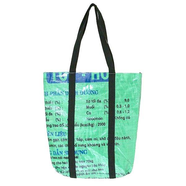 【NEW シリーズ】ベトナム 飼料袋 リメイク ショルダーバッグ(ビニールコーティング マチ付き ブタ グリーン)【画像2】