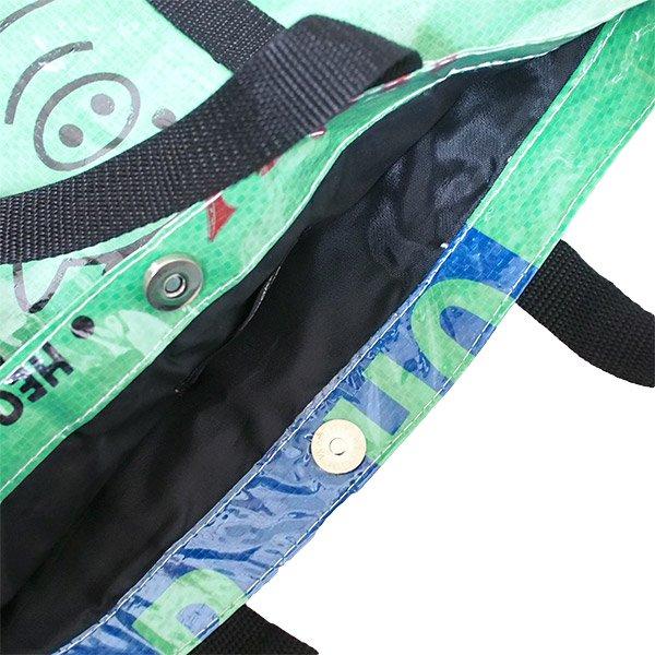 【NEW シリーズ】ベトナム 飼料袋 リメイク ショルダーバッグ(ビニールコーティング マチ付き ブタ グリーン)【画像4】