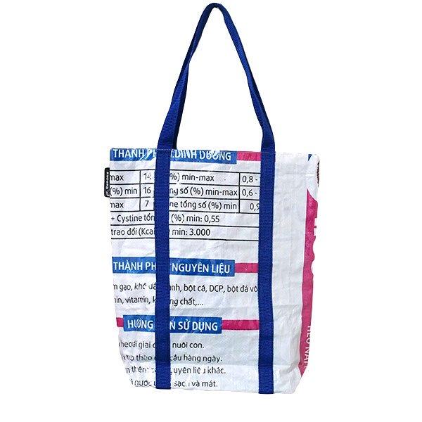 【NEW シリーズ】ベトナム 飼料袋 リメイク ショルダーバッグ(ビニールコーティング マチ付き ブタ ピンク)【画像2】