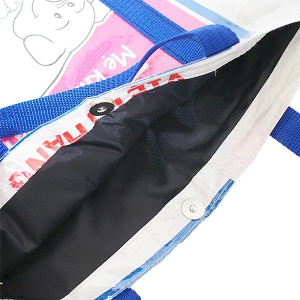 【NEW シリーズ】ベトナム 飼料袋 リメイク ショルダーバッグ(ビニールコーティング マチ付き ブタ ピンク)【画像4】