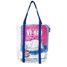 【NEW シリーズ】ベトナム 飼料袋 リメイク ショルダーバッグ(ビニールコーティング マチ付き ブタ ピンク)