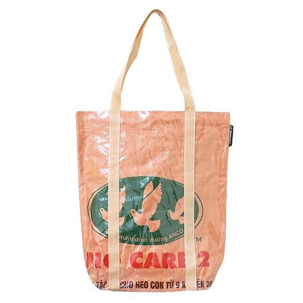 【NEW シリーズ】ベトナム 飼料袋 リメイク ショルダーバッグ(ビニールコーティング マチ付き トリ ブラウン)