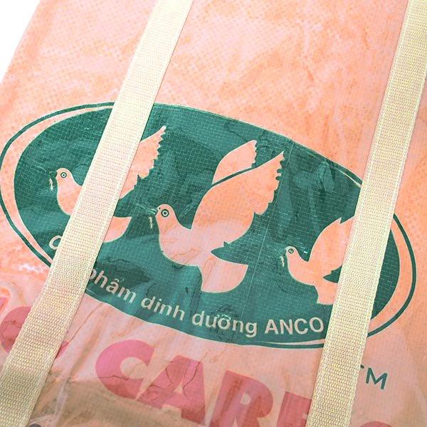 【NEW シリーズ】ベトナム 飼料袋 リメイク ショルダーバッグ(ビニールコーティング マチ付き トリ ブラウン)【画像3】