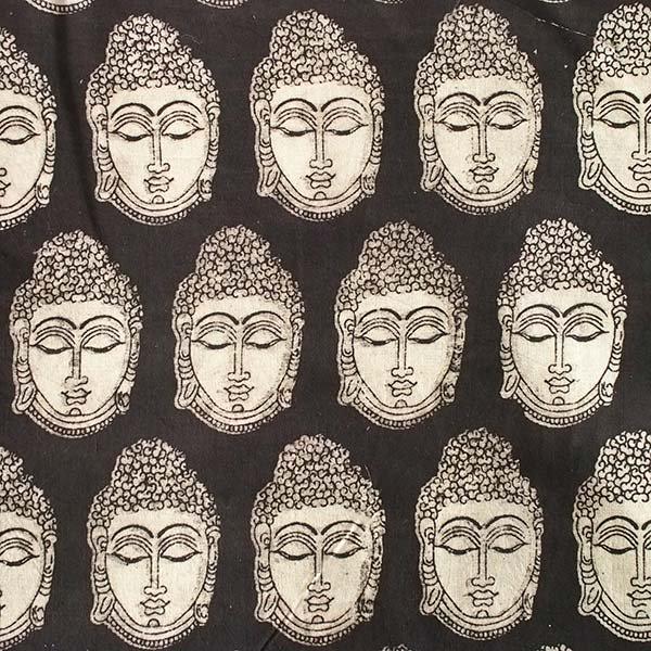 インド ウッドブロック プリント 布(木版)ブッダ ブラック 幅約118cm / 1m切り売り