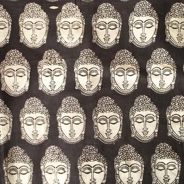 インド ウッドブロック プリント 布(木版)ブッダ ブラック 幅約118cm / 1m切り売り 【画像2】