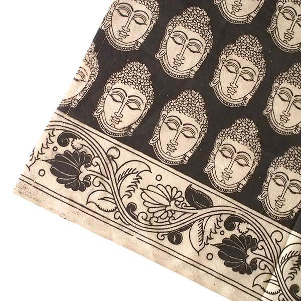インド ウッドブロック プリント 布(木版)ブッダ ブラック 幅約118cm / 1m切り売り 【画像4】