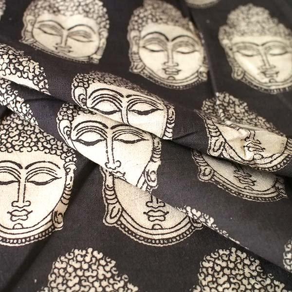 インド ウッドブロック プリント 布(木版)ブッダ ブラック 幅約118cm / 1m切り売り 【画像5】