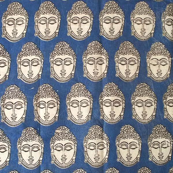 インド ウッドブロック プリント 布(木版)ブッダ ブルー 幅約118cm / 1m切り売り 【画像2】