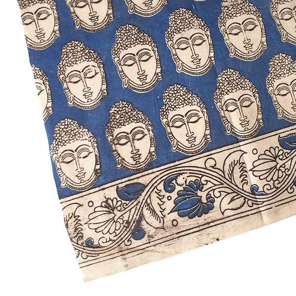 インド ウッドブロック プリント 布(木版)ブッダ ブルー 幅約118cm / 1m切り売り 【画像4】