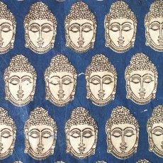 インド ウッドブロック プリント 布(木版)ブッダ ブルー 幅約118cm / 1m切り売り