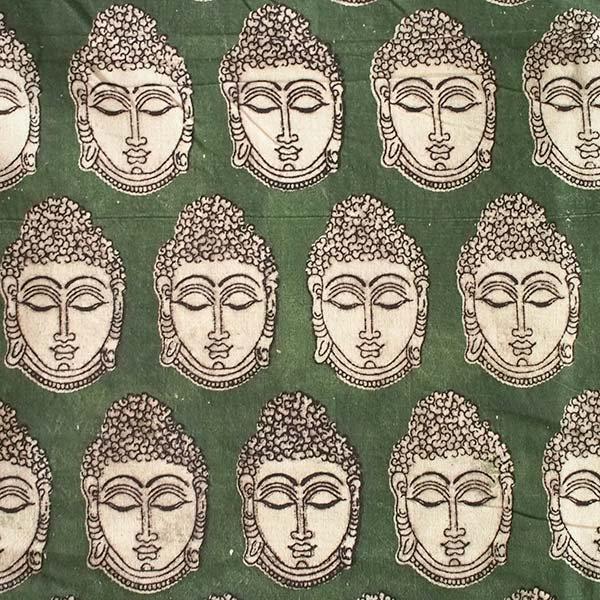 インド ウッドブロック プリント 布(木版)ブッダ グリーン 幅約118cm / 1m切り売り