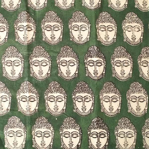 インド ウッドブロック プリント 布(木版)ブッダ グリーン 幅約118cm / 1m切り売り 【画像2】