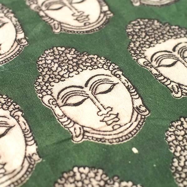 インド ウッドブロック プリント 布(木版)ブッダ グリーン 幅約118cm / 50cm切り売り 【画像3】