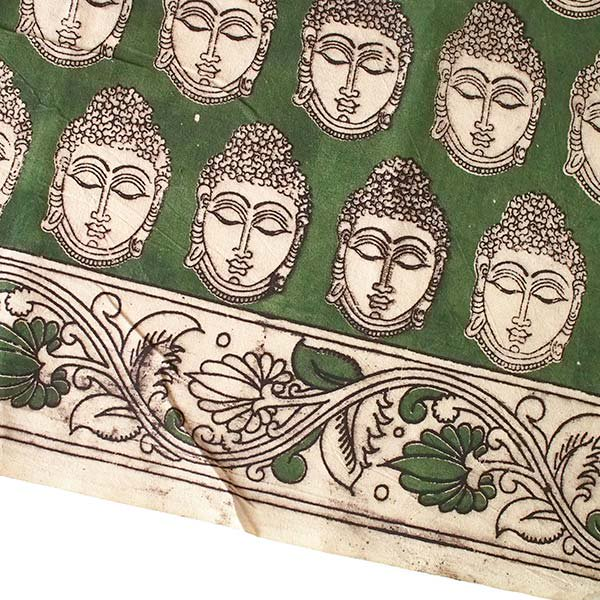 インド ウッドブロック プリント 布(木版)ブッダ グリーン 幅約118cm / 50cm切り売り 【画像4】