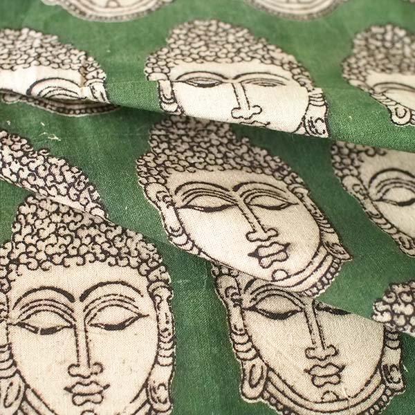 インド ウッドブロック プリント 布(木版)ブッダ グリーン 幅約118cm / 50cm切り売り 【画像5】