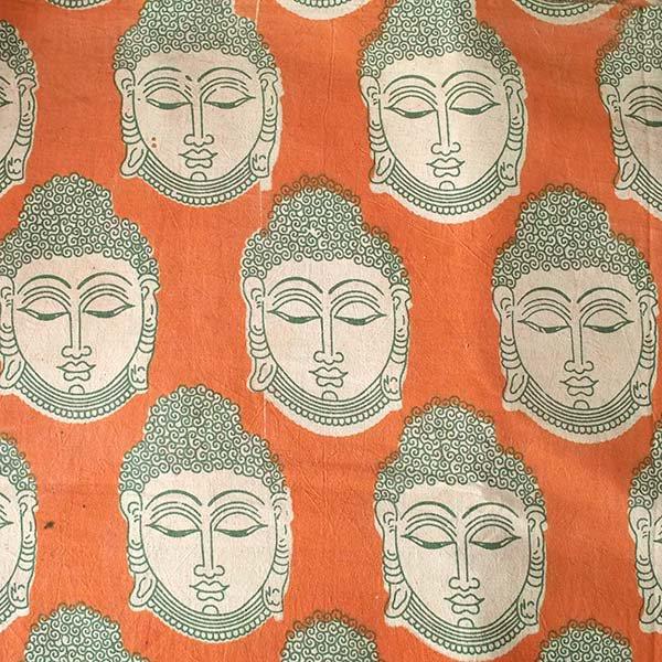 インド ウッドブロック プリント 布(木版)ブッダ 大 オレンジ 幅約115cm / 50cm切り売り