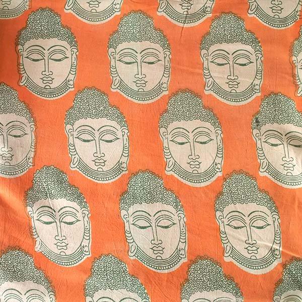 インド ウッドブロック プリント 布(木版)ブッダ 大 オレンジ 幅約115cm / 1m切り売り 【画像2】
