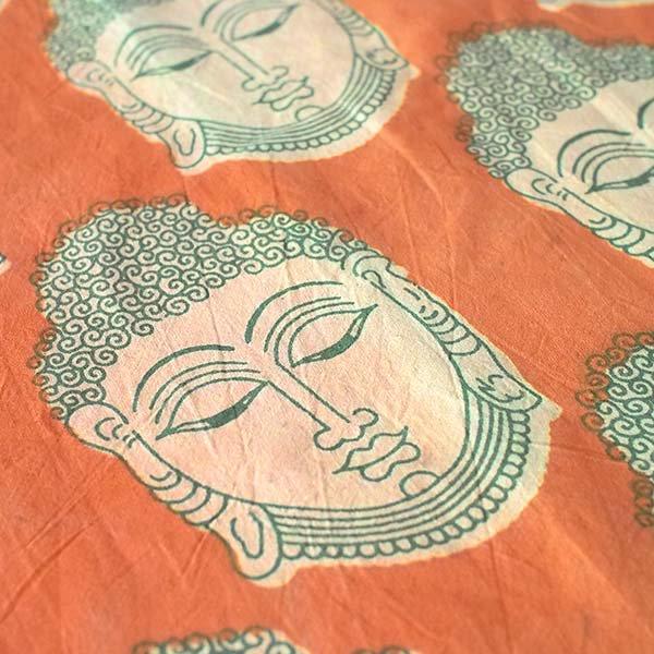 インド ウッドブロック プリント 布(木版)ブッダ 大 オレンジ 幅約115cm / 1m切り売り 【画像3】