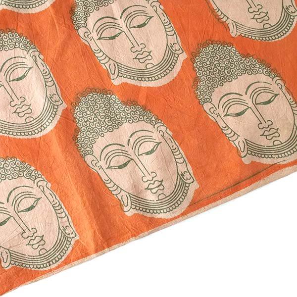 インド ウッドブロック プリント 布(木版)ブッダ 大 オレンジ 幅約115cm / 1m切り売り 【画像4】