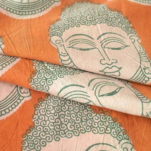 インド ウッドブロック プリント 布(木版)ブッダ 大 オレンジ 幅約115cm / 1m切り売り 【画像5】