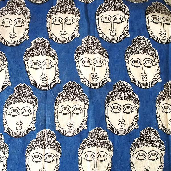 インド ウッドブロック プリント 布(木版)ブッダ 大 ブルー 幅約115cm / 1m切り売り 【画像2】
