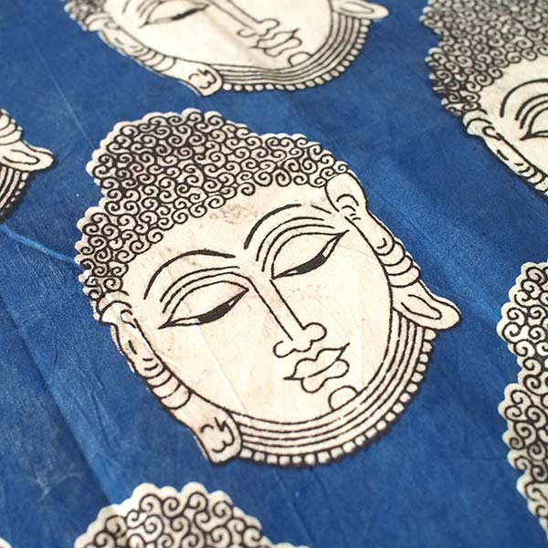 インド ウッドブロック プリント 布(木版)ブッダ 大 ブルー 幅約115cm / 1m切り売り 【画像3】