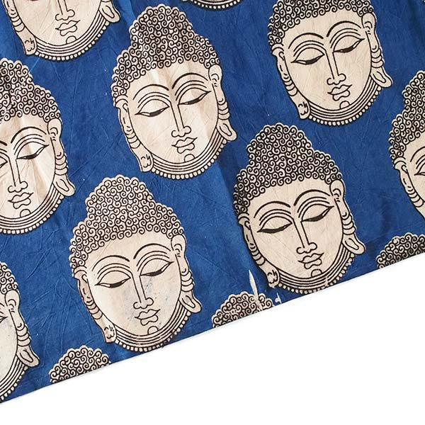 インド ウッドブロック プリント 布(木版)ブッダ 大 ブルー 幅約115cm / 1m切り売り 【画像4】