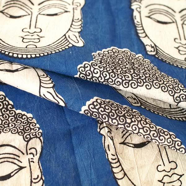 インド ウッドブロック プリント 布(木版)ブッダ 大 ブルー 幅約115cm / 1m切り売り 【画像5】