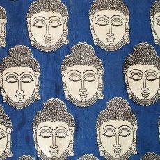 インド ウッドブロック プリント 布(木版)ブッダ 大 ブルー 幅約115cm / 1m切り売り