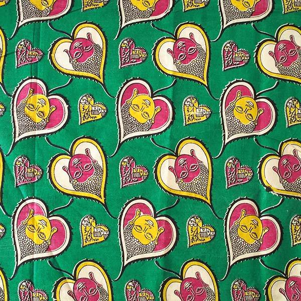 インド ウッドブロック プリント 布(木版)菩提樹の葉とブッダ  グリーン 幅約116cm / 50cm切り売り 【画像2】
