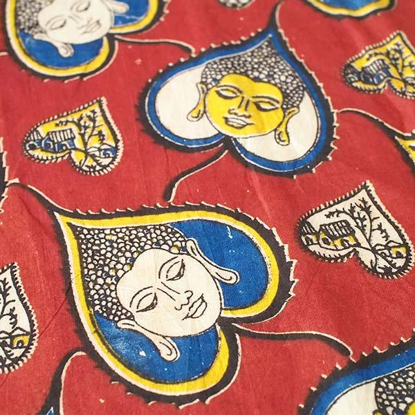 【ラスト1つ】インド ウッドブロック プリント 布(木版)菩提樹の葉とブッダ  あずき 幅約116cm / 90cm切り売り 【画像3】