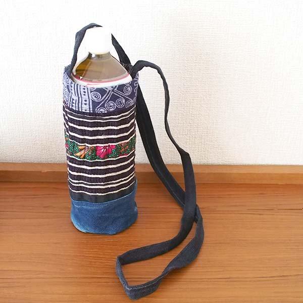 ベトナム モン族 刺繍 ペットボトル フォルダー ブルー (1リットル)【画像5】