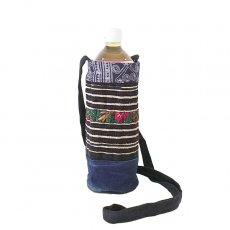 ベトナム モン族 刺繍 ペットボトル フォルダー ブルー (1リットル)