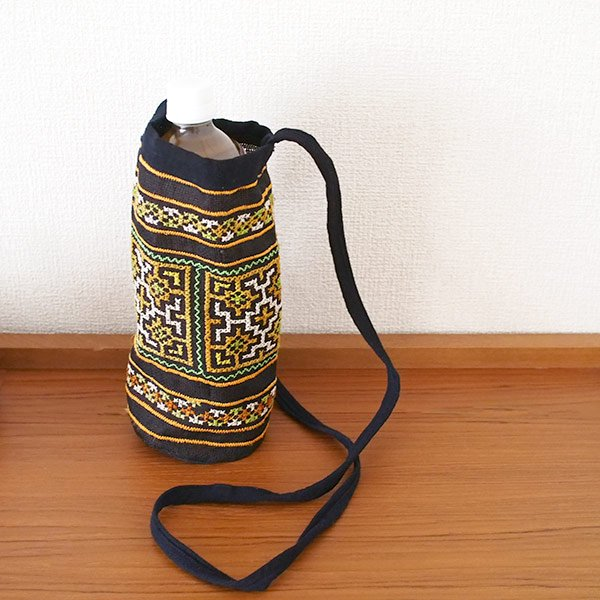 ベトナム モン族 刺繍 ペットボトル フォルダー ブラック (1リットル)【画像4】