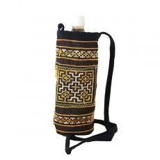 ベトナム 少数民族 モン族 刺繍 ペットボトル フォルダー ブラック (1リットル)民族 刺繍 / ベトナム直輸入