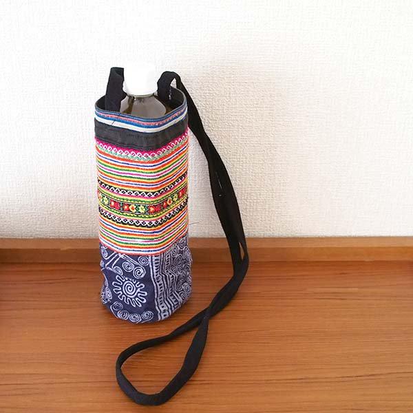 ベトナム モン族 刺繍 ペットボトル フォルダー オレンジ (1リットル)【画像5】