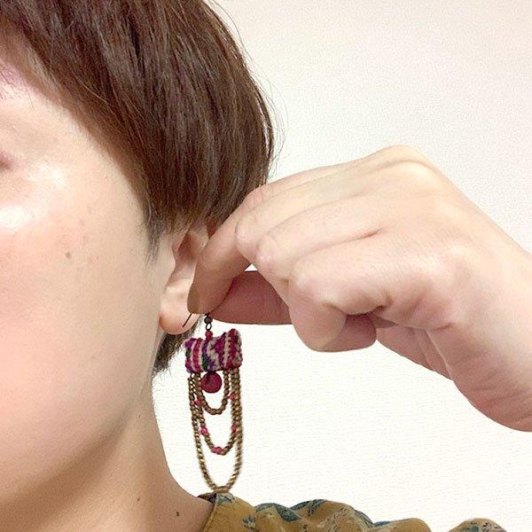 ベトナム  少数民族 古布ピアス(パープル&ピンク A)【画像4】