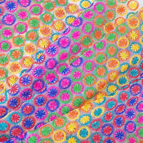 インド メッシュ生地(模様 カラフル刺繍 / 幅約108cm 50cm 切り売り )
