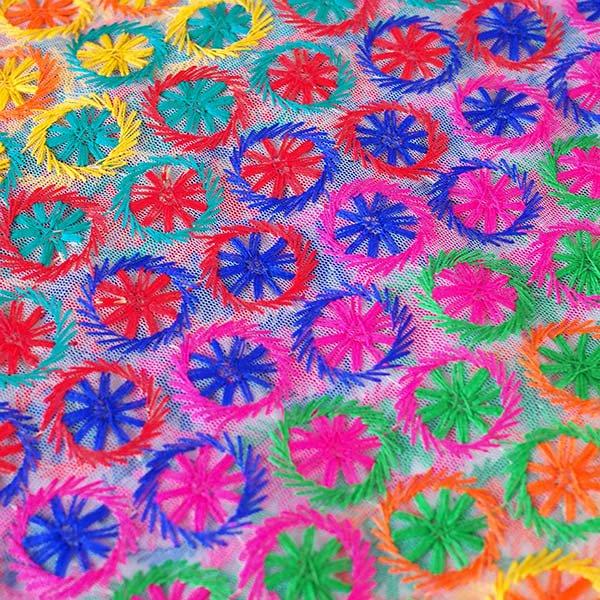 インド メッシュ生地(模様 カラフル刺繍 / 幅約108cm 50cm 切り売り )【画像3】