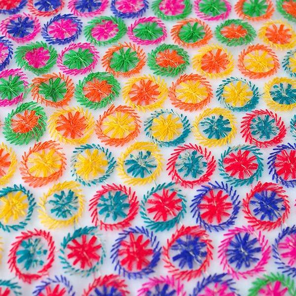 インド メッシュ生地(模様 カラフル刺繍 / 幅約108cm 50cm 切り売り )【画像4】