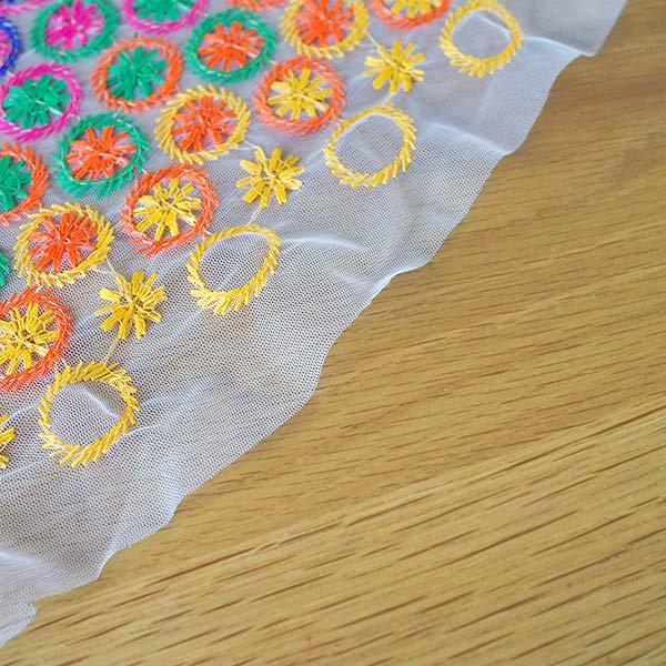 インド メッシュ生地(模様 カラフル刺繍 / 幅約108cm 50cm 切り売り )【画像6】