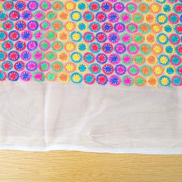 インド メッシュ生地(模様 カラフル刺繍 / 幅約108cm 50cm 切り売り )【画像7】