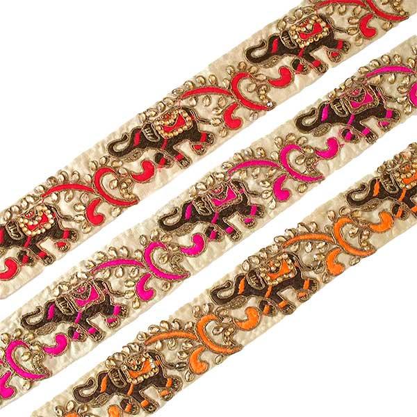 インド チロリアンテープ  ゾウとゴータ刺繍 3色 (幅5.5cm/1m単位売り)