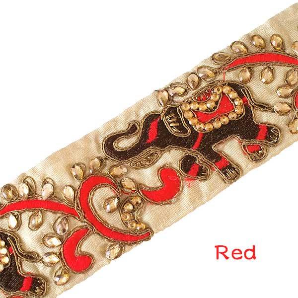 インド チロリアンテープ  ゾウとゴータ刺繍 3色 (幅5.5cm/1m単位売り)【画像2】