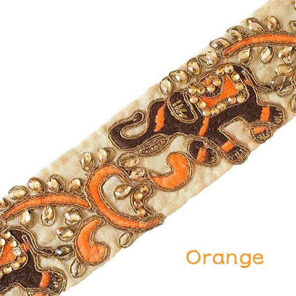 インド チロリアンテープ  ゾウとゴータ刺繍 3色 (幅5.5cm/1m単位売り)【画像4】