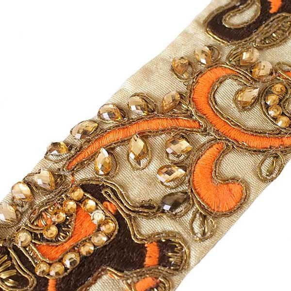 インド チロリアンテープ  ゾウとゴータ刺繍 3色 (幅5.5cm/1m単位売り)【画像5】