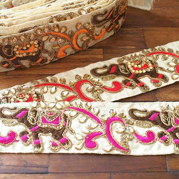 インド チロリアンテープ  ゾウとゴータ刺繍 3色 (幅5.5cm/1m単位売り)【画像7】